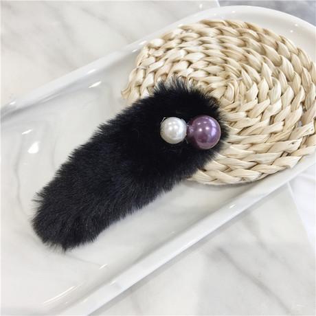 Mùa thu đông ngọt ngào giả lông thỏ ngọc trai BB clip kẹp tóc Cô gái Hàn Quốc khí chất tóc mái tóc lông phụ kiện tóc