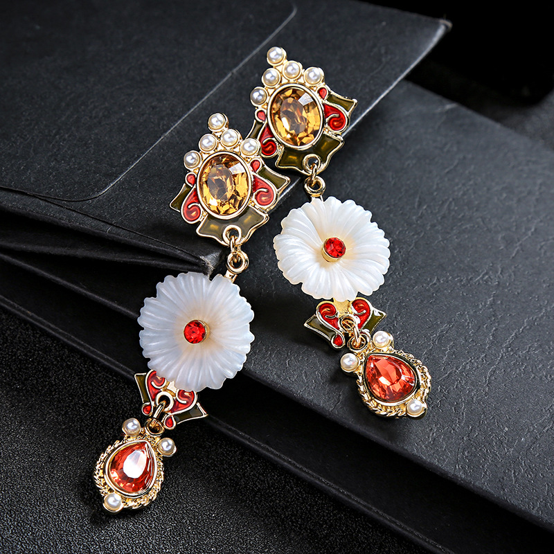 Alloy Fashion Flowers earring  (Photo Color) NHQD5856-Photo-Color