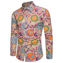 2018春夏外贸新款男士修身时尚休闲长袖开衫印花棉麻衬衣亚麻衬衫