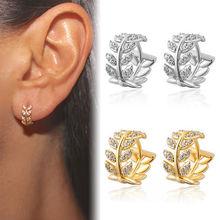 臻荣ebay热卖树叶子镶钻耳环 欧美女镶嵌水晶锆石耳扣耳夹耳饰品