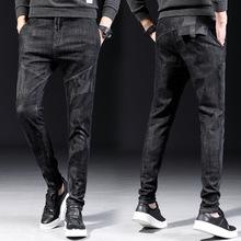 秋季青年男式新品款迷彩贴布韩版?#20449;?#20180;裤男士潮牌小直筒牛仔裤