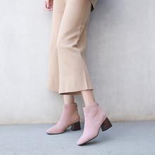 2018新款秋冬季女鞋韩版百搭磨砂皮中跟小粗跟短靴女靴马丁靴子女