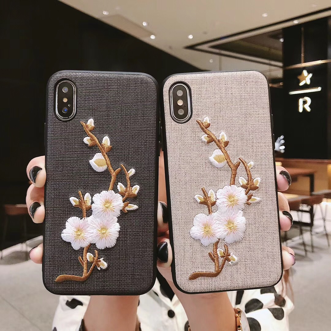Chinese style for Apple 8plus mobile phone shell creative plum embroidery mobile phone shell embroidery factory wholesale generation