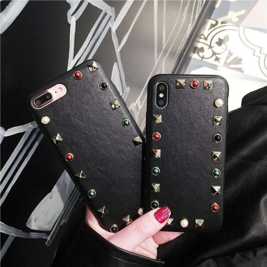 Vintage Studded Leather iPhone Phone Case NHDV139305 For iphone