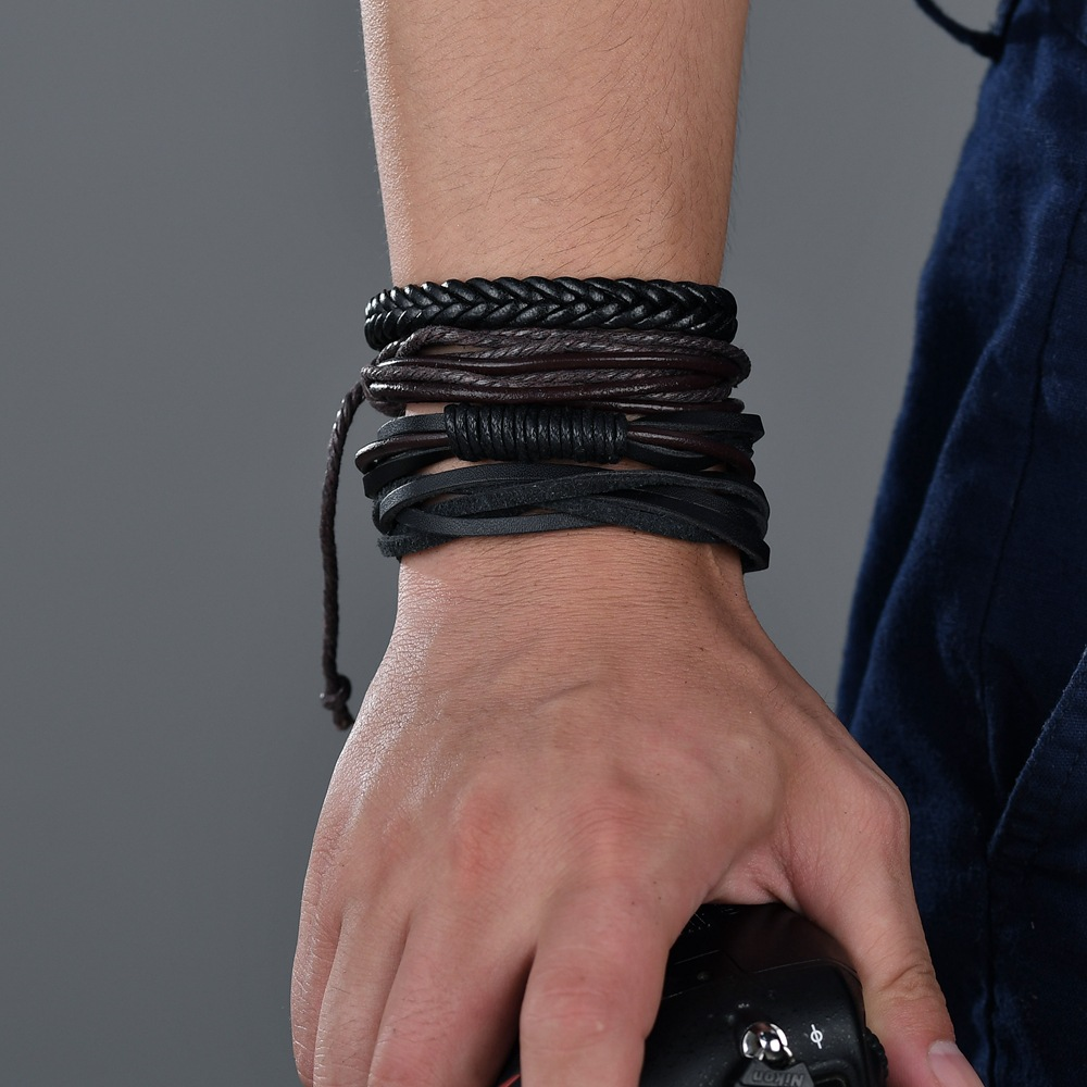 Leather Fashion Geometric bracelet  (black) NHBQ1673-black