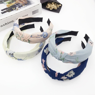 Yiwu factory direct sales-new simple headband digital printing bow headband foreign trade wholesale-mixed wholesale accessories