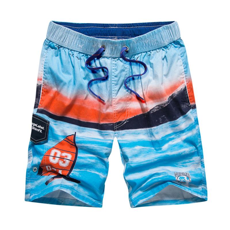 速卖通男士夏季休闲清凉纯棉吸汗透气沙滩短裤英伦修身直筒速干裤