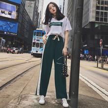 2018夏季新款女裝兩件套韓版時尚顯瘦印花短袖九分褲運動套裝