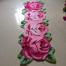 厂家直销 手工长条粉红玫瑰刺绣地毯地垫 时尚婚房花卉地毯