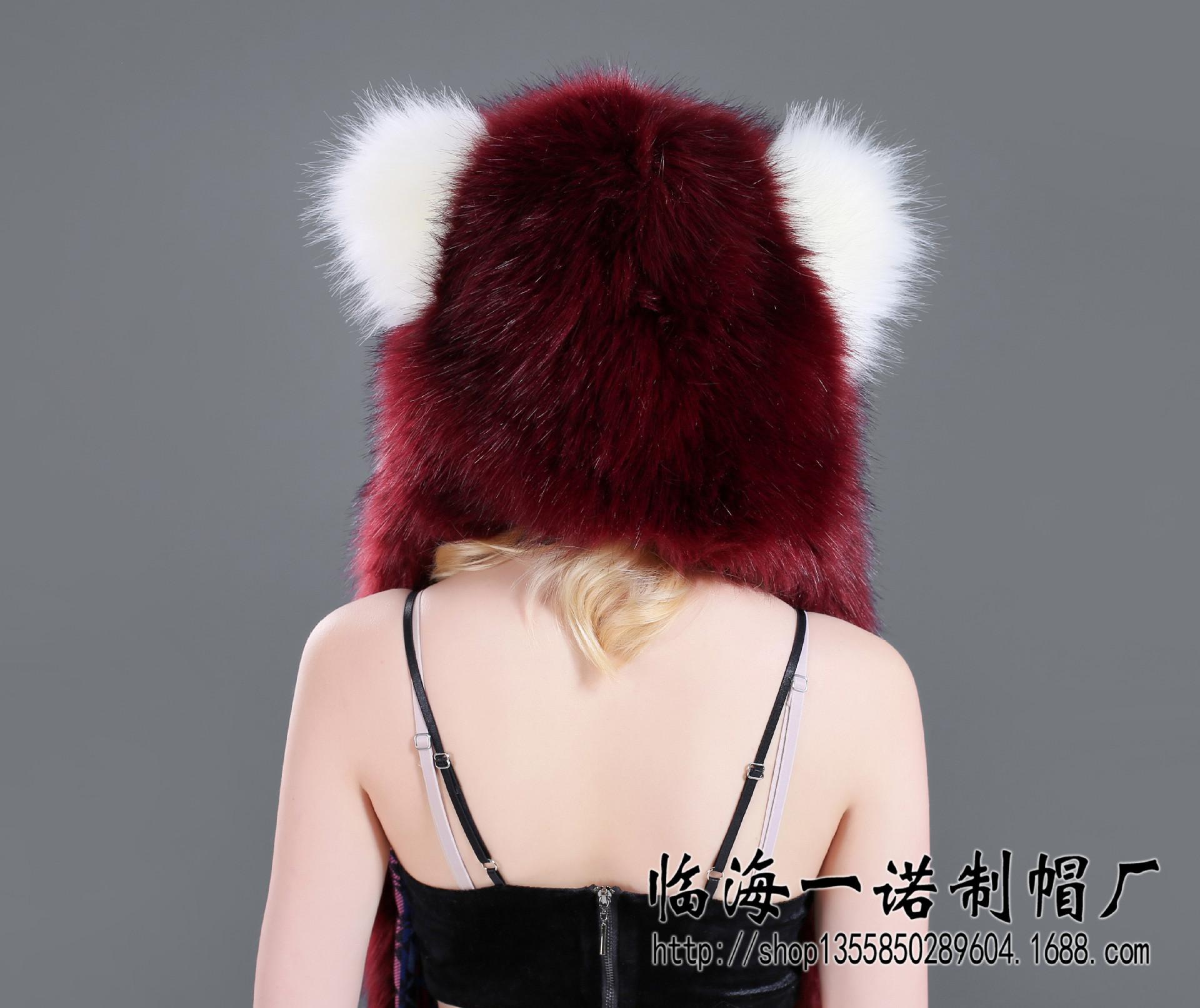 帽子狐狸毛 速卖通欧美仿皮草毛毛毛绒卡通动物帽帽子围巾手套一体狐狸毛 阿里巴巴
