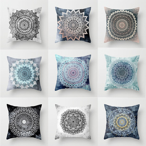 18'' Cushion Cover Pillow Case National Mandala peach skin printed sofa pillow cushion cover modern personality pattern pillow case