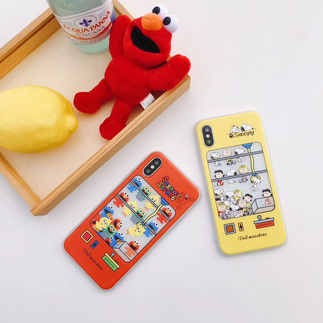 Snoopy doll machine iphone6 mobile phone shell 7/8 lanyard apple 6plus all-inclusive soft shell sesame blame drop