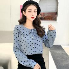 秋装新款韩版复古气质宽松圆点系带蝴蝶结娃娃领长袖衬衫女上衣潮