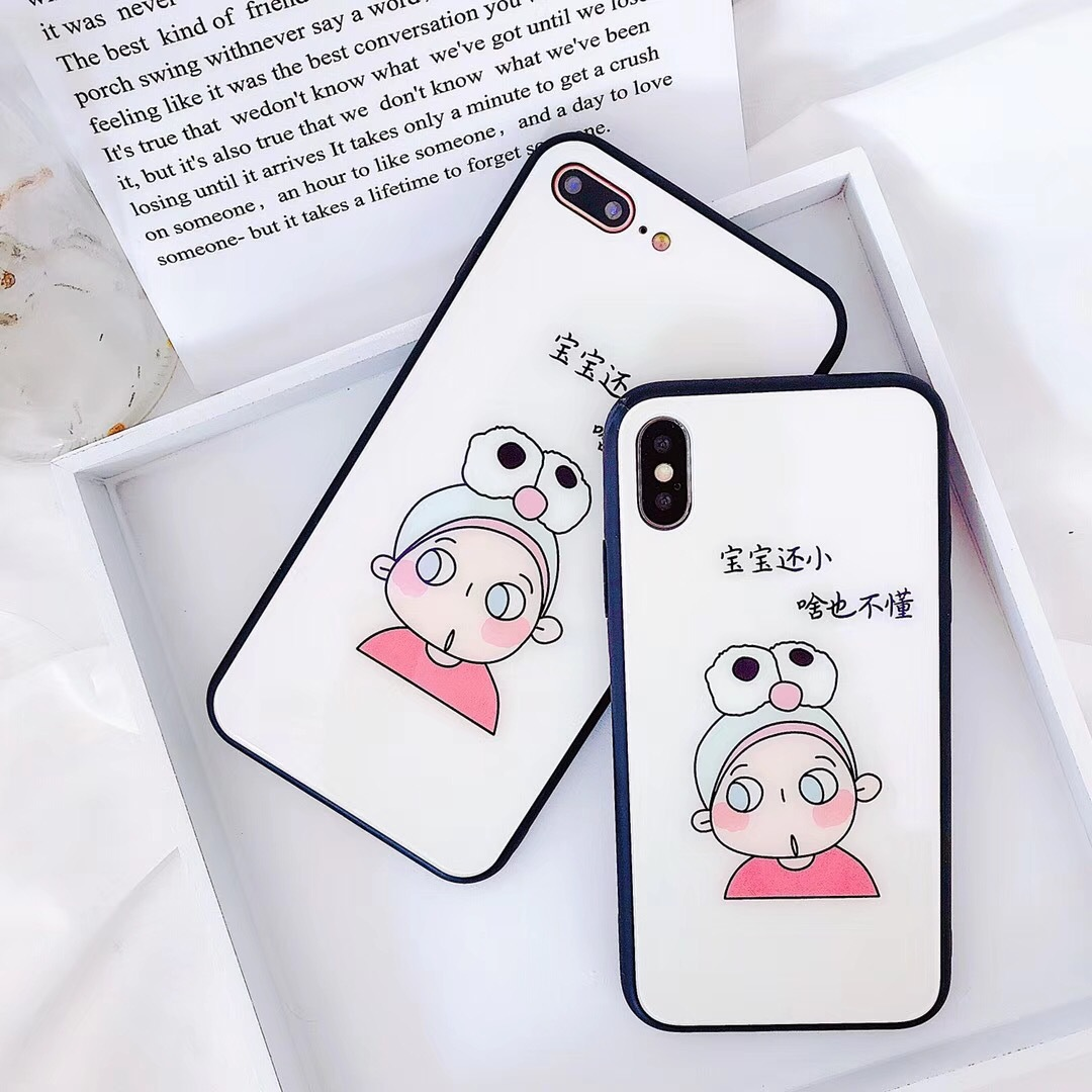 Cute little fresh girl Apple X glass phone case iphone6s/7/8plus simple all-inclusive female cute