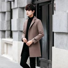 一件可拍秋冬中长款风衣男士韩版修身大衣时尚毛呢大褂休闲外套男