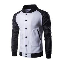 春装新款大口袋拼皮袖男款棒球夹克 英伦时尚立领外套外贸批发
