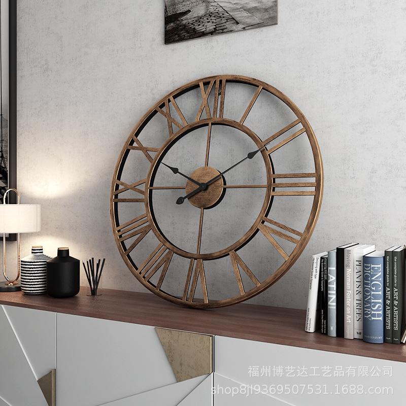 欧式热卖挂表复古罗马钟表 简约客厅静音时钟 创意装饰铁艺挂钟