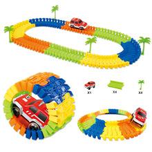 兒童電動軌道小車玩具 96PCS益智搭建軌道模型配小車 跨境貨源