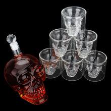 Qua biên giới decanters nổ mô hình thủy tinh borosilicate chỉ ly rượu và những người sáng tạo thu thập tại chỗ xương sọ flagon Set Bộ rượu