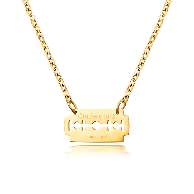 Korean fashion titanium steel 18K rose gold blade necklace NHIM178034