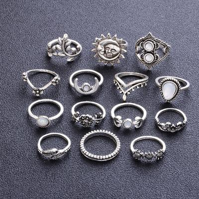 欧美水滴花朵向日葵月亮太阳镂空雕花镶钻十四件指环套装CR128
