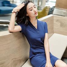 2018新款夏季女裙裝顯瘦氣質職業裝裙OL修身短袖連衣裙套裙現貨