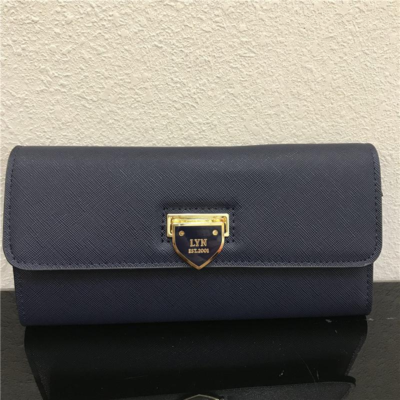 LYN 新款女式钱包 商标锁扣三折长款钱包