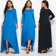 速賣通新款 歐美大碼中袖女裙時尚純色寬松舒適連衣長裙FP6006
