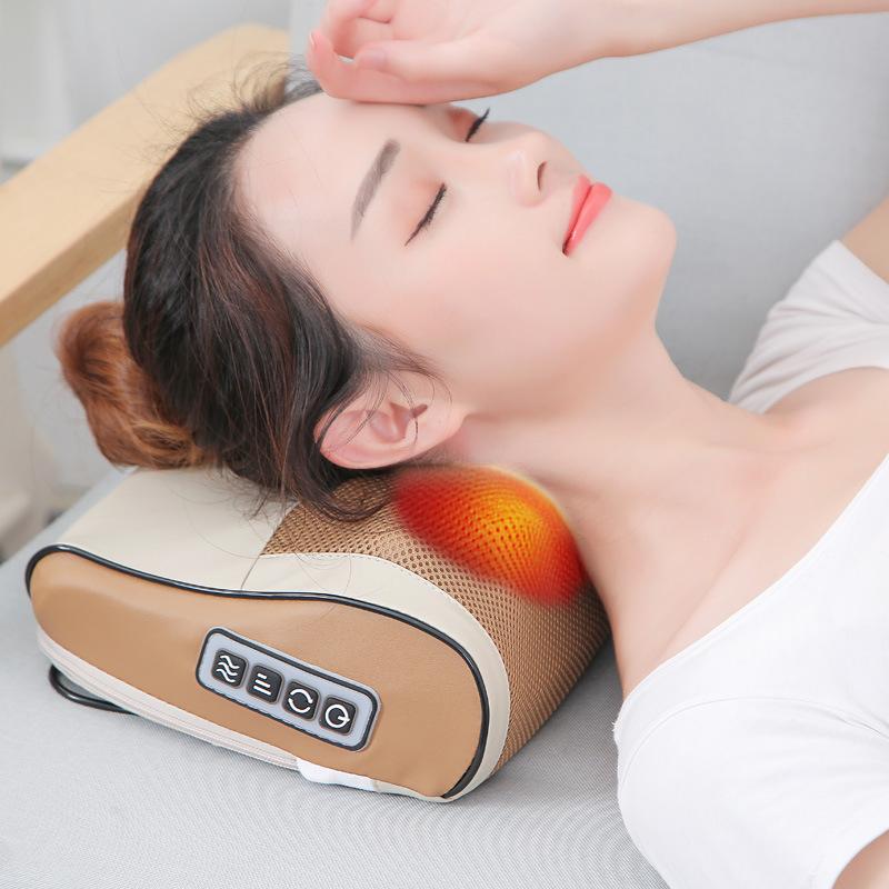 亚马逊爆款 颈椎按摩器 颈部肩部背部家用全身电动多功能按摩枕头