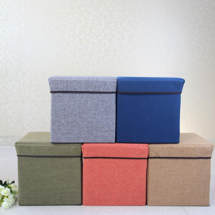 新款棉麻可折叠储物收纳凳居家店铺换鞋凳沙发凳可坐带盖储物凳子