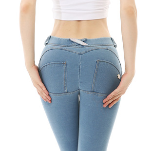 New sports yoga trousers women's denim peach hip-lifting sports pants high elasticity and beautiful buttocks fitness peach trousers