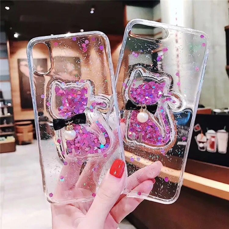 Purple cat iphoneXR xsmax fashion Epoxy 6sp 7 cartoon stereo kitten Applicable love cat 8p 7