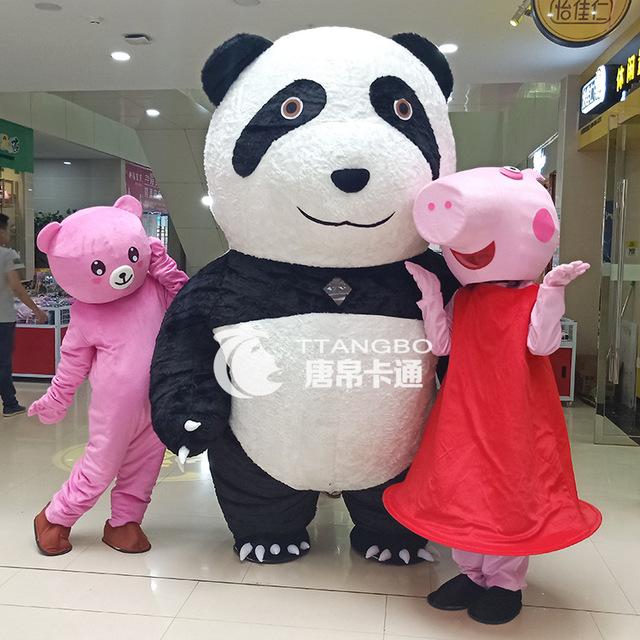 策划表演充气熊猫卡通人偶服装大型充气熊猫行走人偶卡通服饰cos
