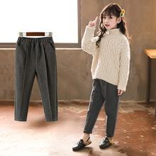 2019春款女童褲子英倫寶寶長褲西褲學院風女童毛呢休閑褲一件代發