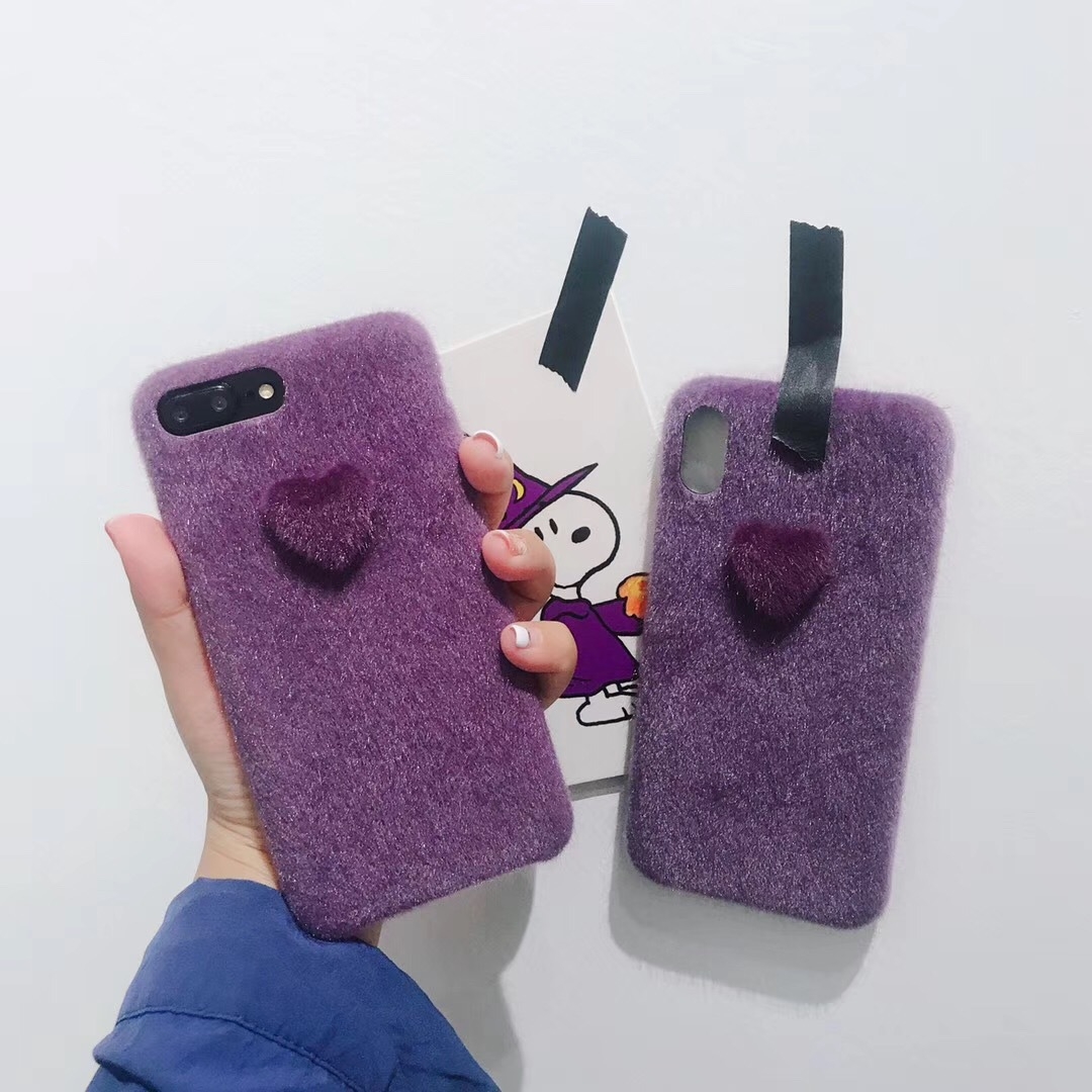 Autumn and winter plush small love for iphone xs max mobile phone shell X apple XR/8plus/6sp/7 female models