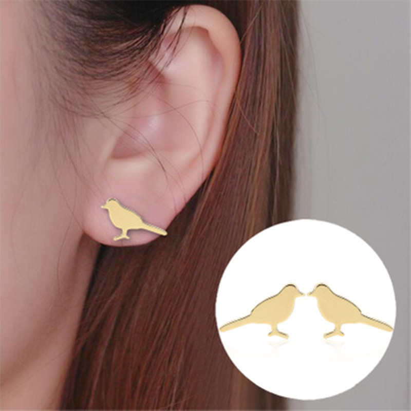 Simple Bird Ear Studs Woodpecker Ear Studs Gold and Silver Rose Chick Ear Studs and Peace Pigeon Ear Studs Wholesale NHCU186580