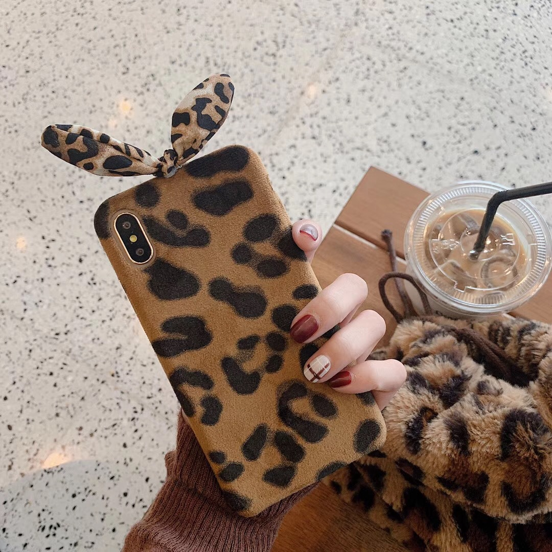 Rabbit Ear Leopard Plush Three Packs Applicable / xs Mobile Shell 6s Soft Shell iphone7/8plus/XR/XsMax