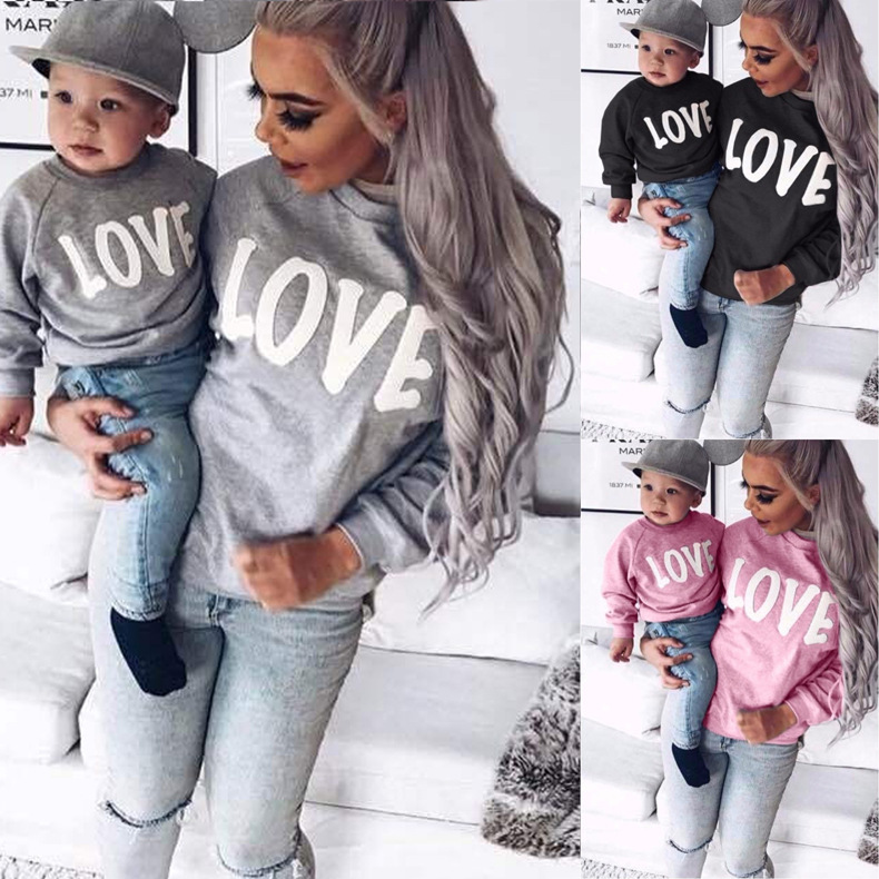 women's hot style long-sleeved round neck letters LOVE parent-child sweater NSKX6230