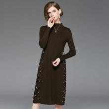 时尚优雅名媛修身显瘦中长款高档长袖连衣裙手工钉珠毛织裙FC04