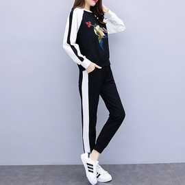 Casual sports suit female spring and autumn new fashion large size loose long-sleeved embroidered sweater two sets of tide