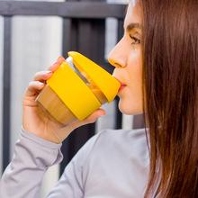 摩西咖啡杯礼品定制 创意硅胶随手咖啡杯批发 高硼硅杯子水杯定制