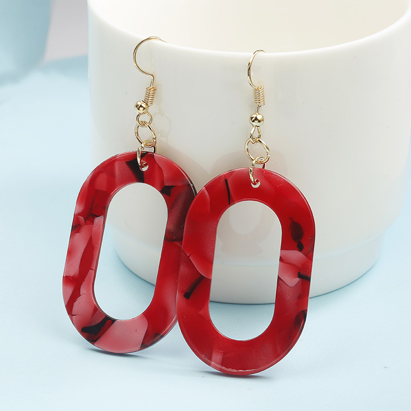 Metal oval hollow colorful stitching earrings NHPF151924