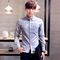 牛津纺长袖修身男装韩版休闲白衬衣青少年纯色衬衫一件代发D26