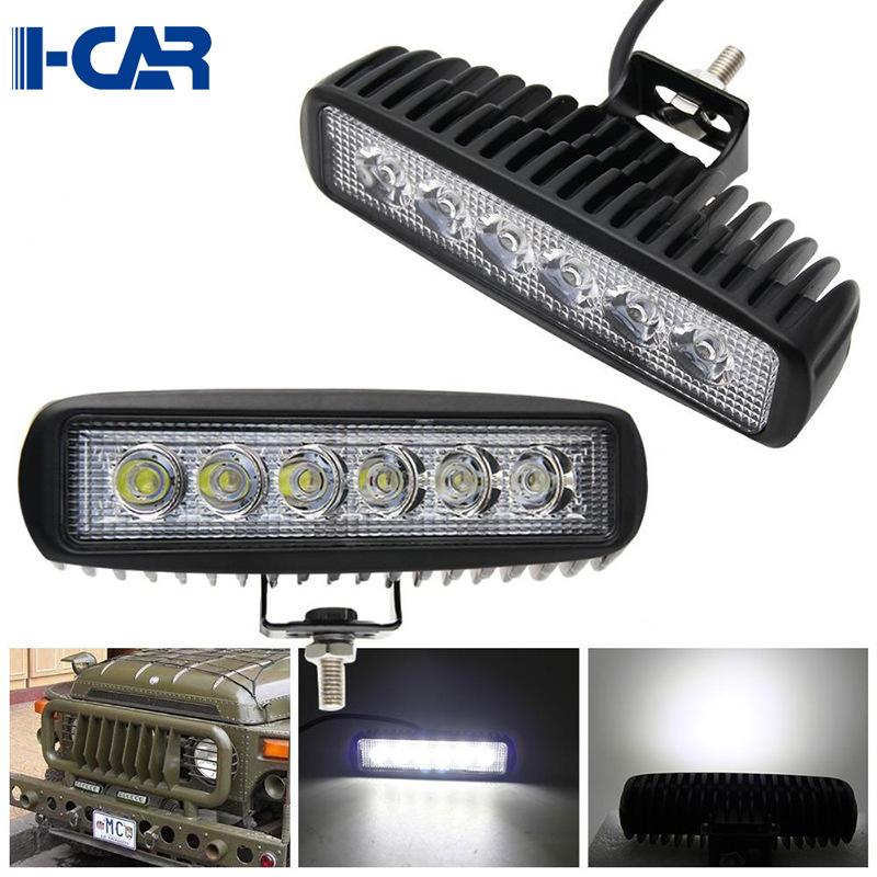 18W工作灯一字形汽车LED射灯6英寸卡车改装照明超薄长条灯12-24V