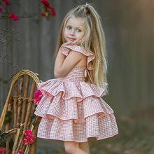 H902#ins爆款童裙歐美夏季寶寶格子飛袖露背連衣裙女童蛋糕蓬蓬裙