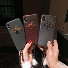 奢華大氣手鏈iphonexs max手機殼水鉆蜜蜂蘋果8/7p蛇皮紋新款潮女