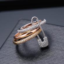 歐美創意款三環可拆分別針戒指 時尚高檔微鑲AAA鋯石戒指批發