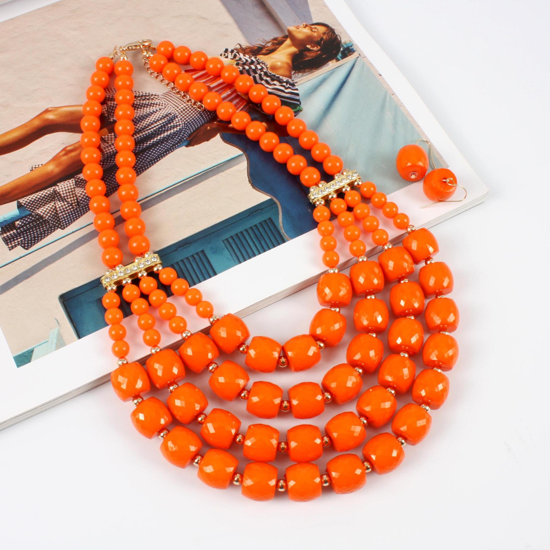Plastic Fashion Geometric Jewelry Set  (red) NHCT0314-red