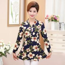中年女装秋装新款长袖衬衣40-50岁中年人上衣中长款春秋妈妈装T恤