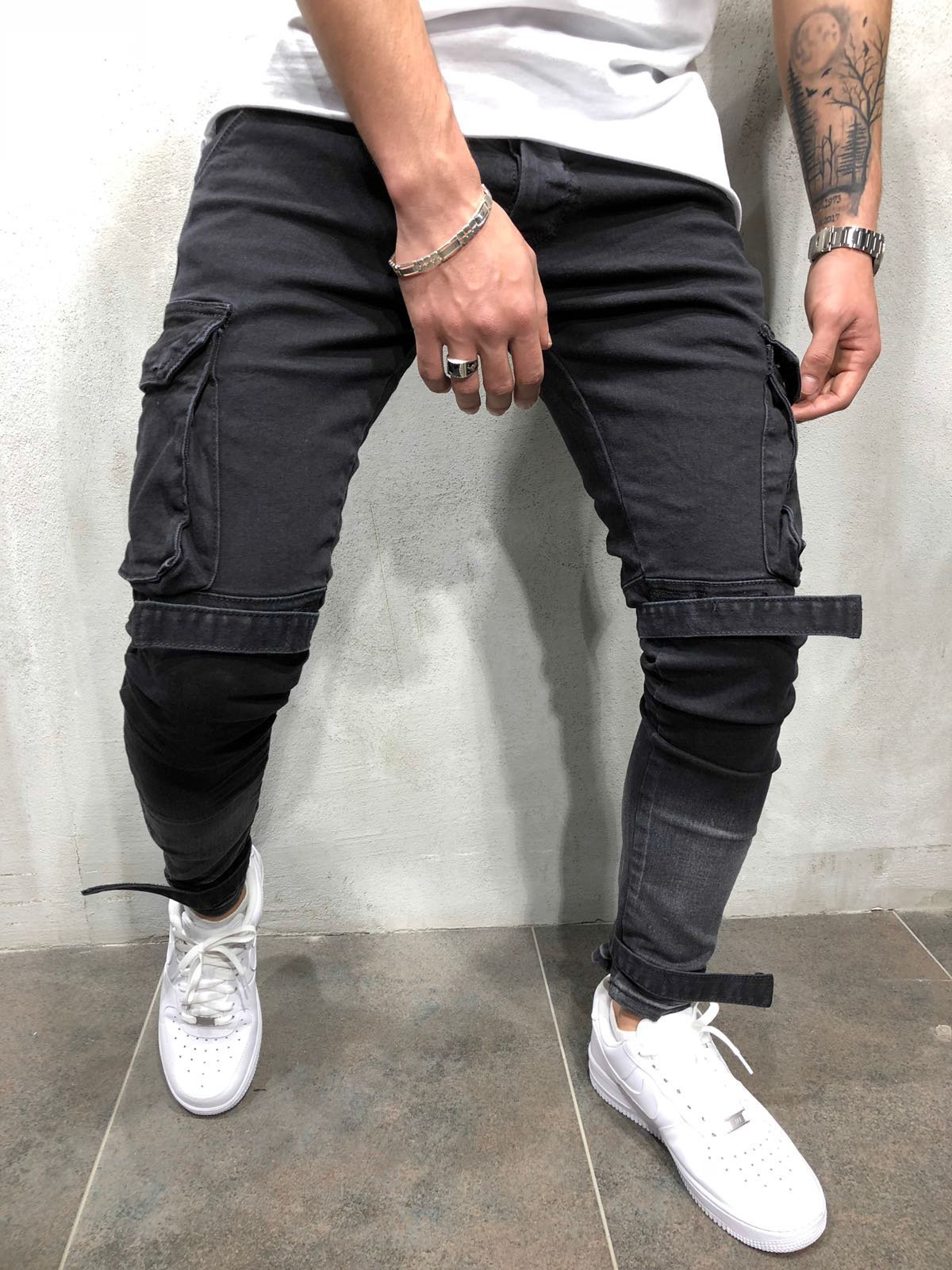 Autumn And Winter New Men'S Slim Fit Jeans Black Large Pocket Casual Hem Men'S Leggings